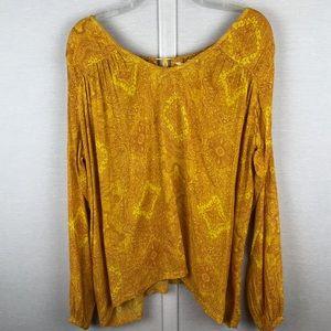BILLABONG Yellow/Orange Boho Blouse